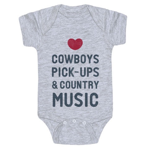 Cowboys, Pickups, and Country Music Baby Onesy