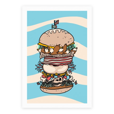 'Merican Double Decker Declaration of Food Freedom Burger Poster