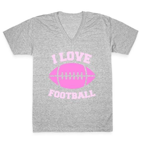 I Love Football V-Neck Tee Shirt