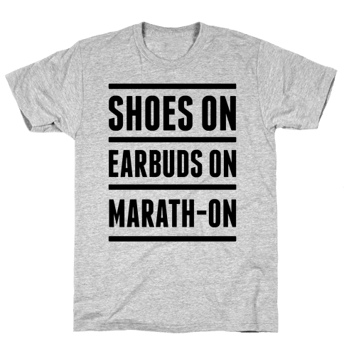 Shoes On Earbuds On Marath-On Mens T-Shirt