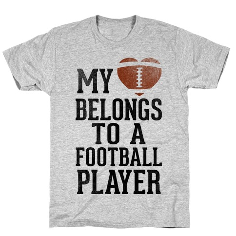 My Heart Belongs to a Football Player (Baseball Tee) Mens T-Shirt