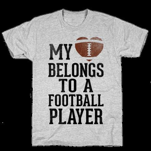 My Heart Belongs to a Football Player (Baseball Tee) Mens T-Shirt