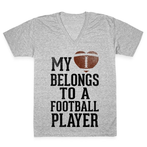 My Heart Belongs to a Football Player (Baseball Tee) V-Neck Tee Shirt