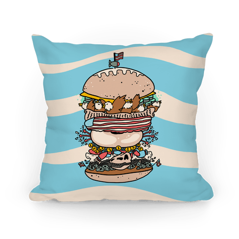 'Merican Double Decker Declaration of Food Freedom Burger Pillow