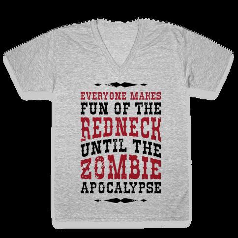 Redneck Zombie Killer V-Neck Tee Shirt