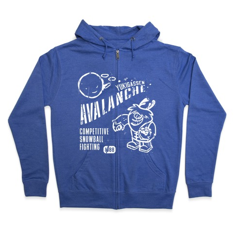 Competitive Snowball Fighting Zip Hoodie