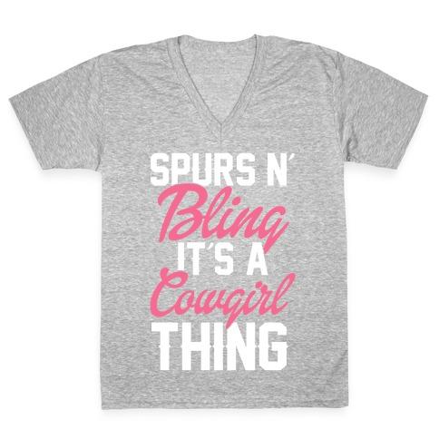 Spurs and Bling V-Neck Tee Shirt
