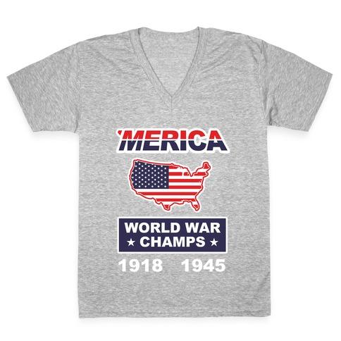 Merica World War Champs V-Neck Tee Shirt