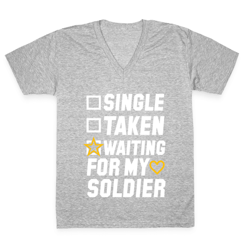 Waiting For My Soldier (Army Tank) V-Neck Tee Shirt