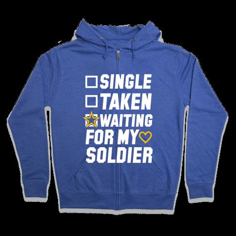 Waiting For My Soldier (Army Tank) Zip Hoodie
