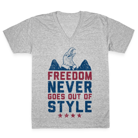 Freedom Never Goes Out of Style (Patriotic Hoodie) V-Neck Tee Shirt