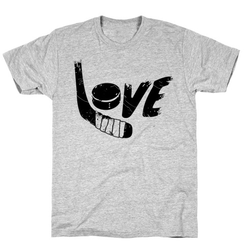 Love Hockey (Distressed)  Mens T-Shirt