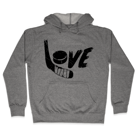 Love Hockey (Distressed)  Hooded Sweatshirt