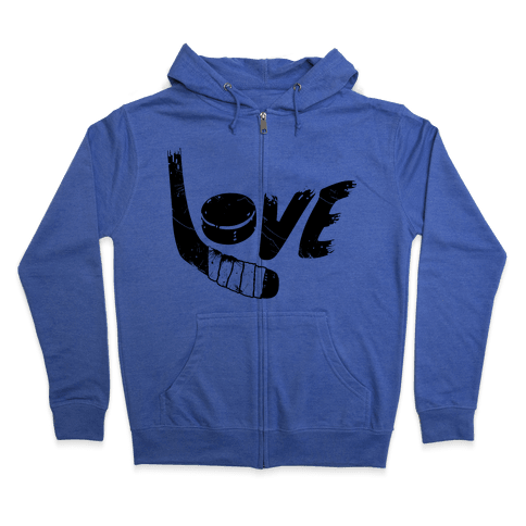 Love Hockey (Distressed)  Zip Hoodie