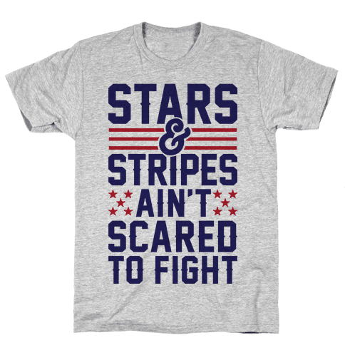 Stars And Stripes Ain't Scared To Fight (Patriotic Baseball Tee) Mens T-Shirt