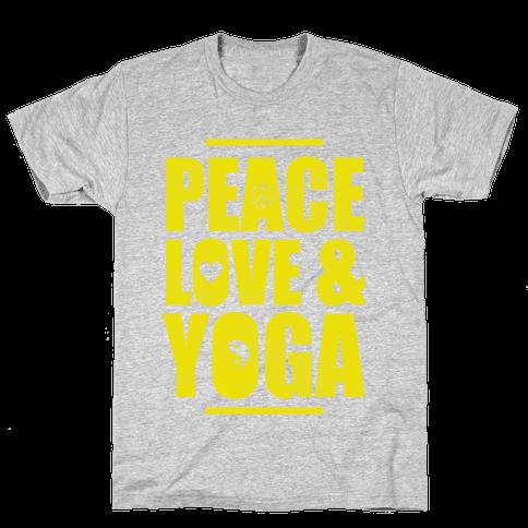 Peace Love Yoga Mens T-Shirt