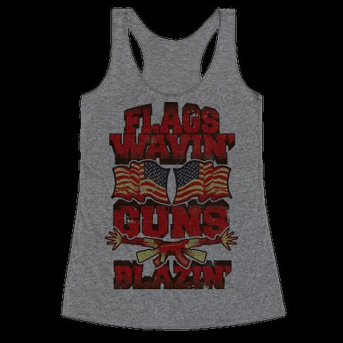 Flags Waving Guns Blazing Racerback Tank Top