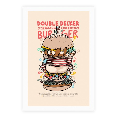 'Merican Double Decker Declaration of Food Freedom Burger Recipe Poster