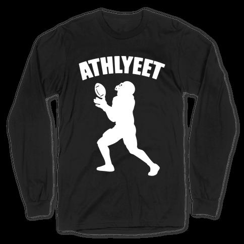 Athlyeet Football White Print Long Sleeve T-Shirt