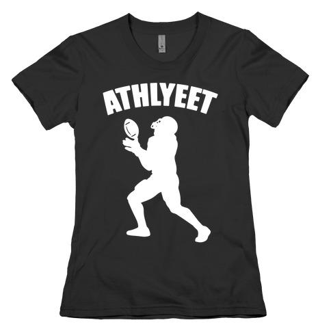 Athlyeet Football White Print Womens T-Shirt
