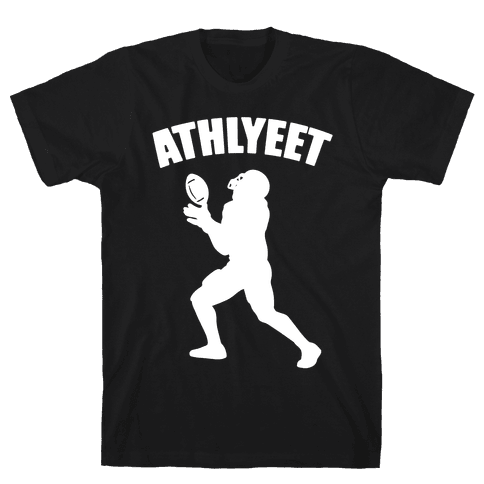 Athlyeet Football White Print Mens/Unisex T-Shirt
