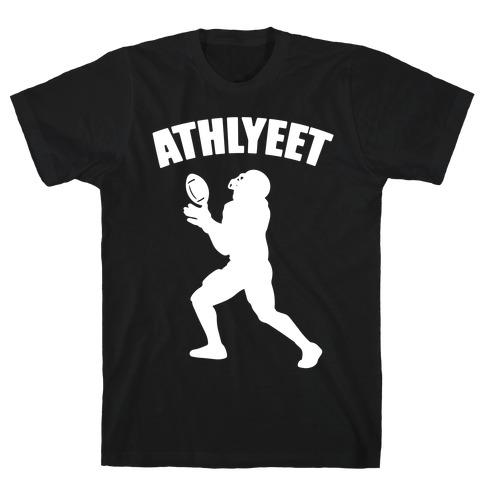 Athlyeet Football White Print Mens/Unisex T-Shirt
