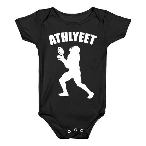 Athlyeet Football White Print Baby Onesy