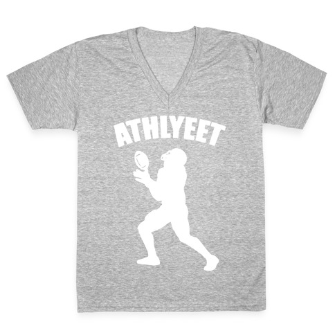 Athlyeet Football White Print V-Neck Tee Shirt
