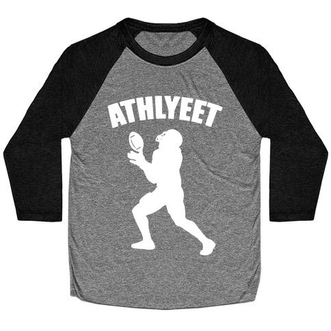 Athlyeet Football White Print Baseball Tee