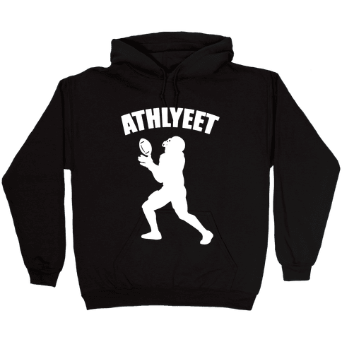 Athlyeet Football White Print Hooded Sweatshirt