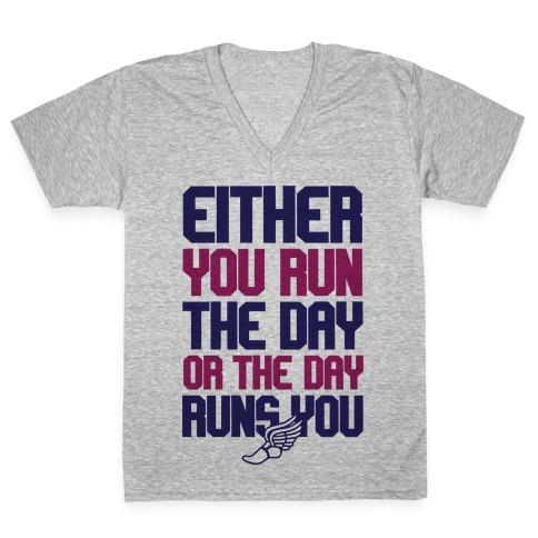 Run The Day V-Neck Tee Shirt