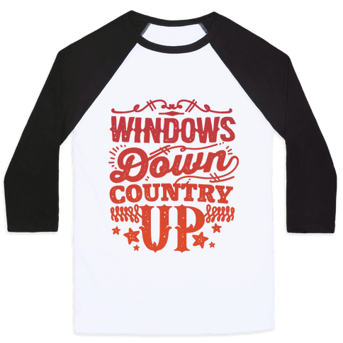 Windows Down Country Up Baseball Tee