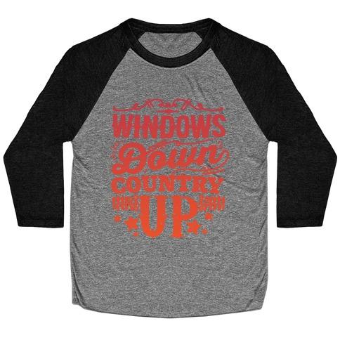Windows Down Country Up Baseball Tee