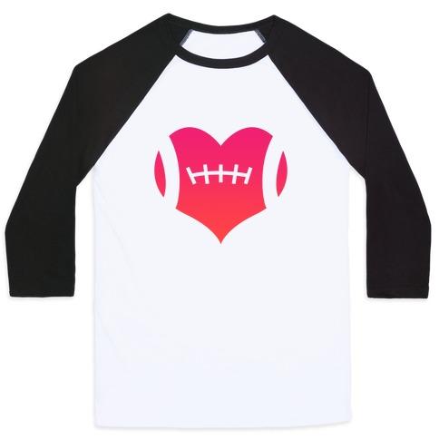 Football Heart Baseball Tee