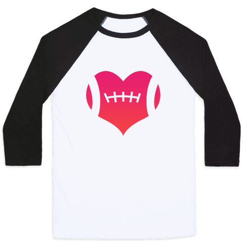 Football Heart Baseball Tee
