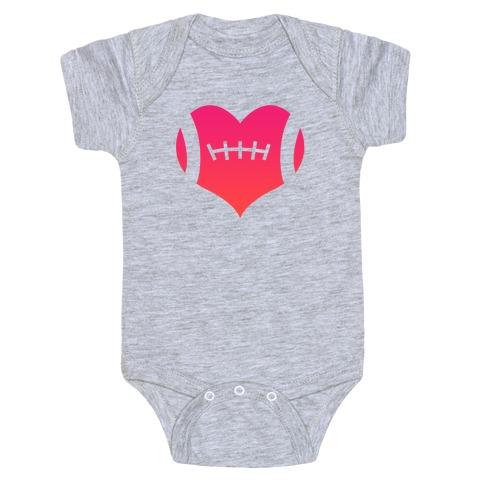 Football Heart Baby Onesy