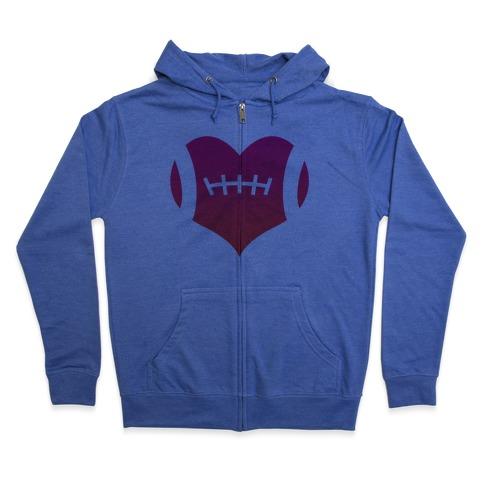 Football Heart Zip Hoodie