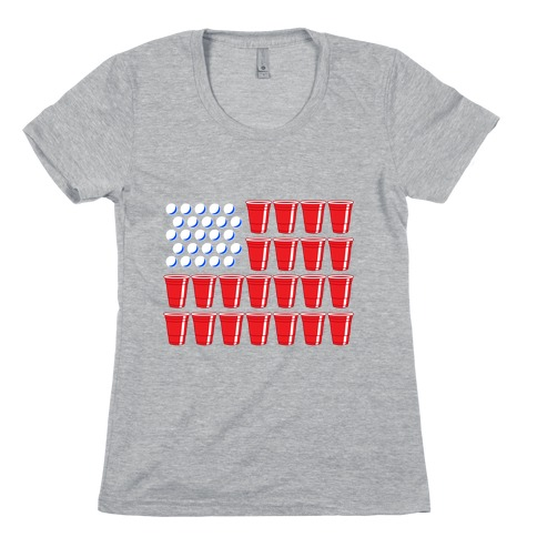 Beer Pong Flag Womens T-Shirt