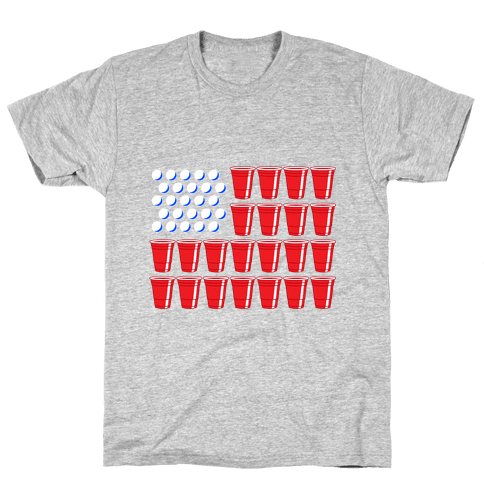 Beer Pong Flag Mens T-Shirt