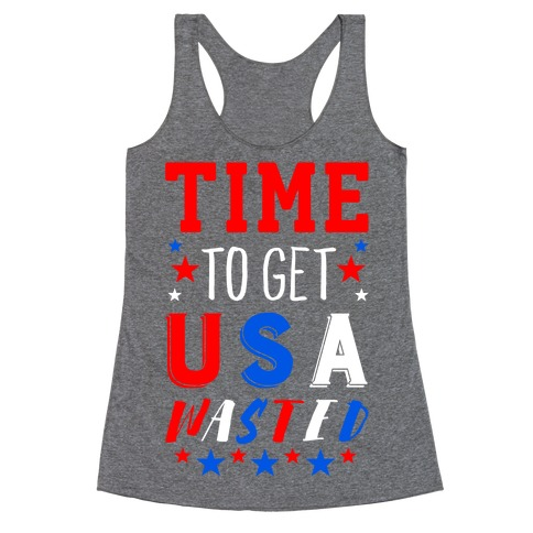 Time to Get USA Wasted Racerback Tank Top