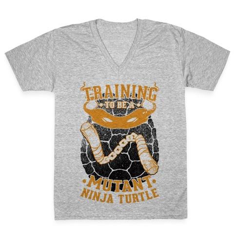 Training To Be A Mutant Ninja Turtle V-Neck Tee Shirt
