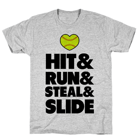 Hit & Run & Steal & Slide Mens T-Shirt
