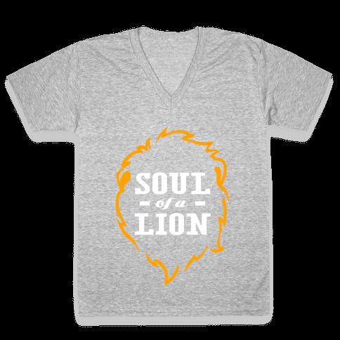 Soul of a Lion (Dark Tank) V-Neck Tee Shirt