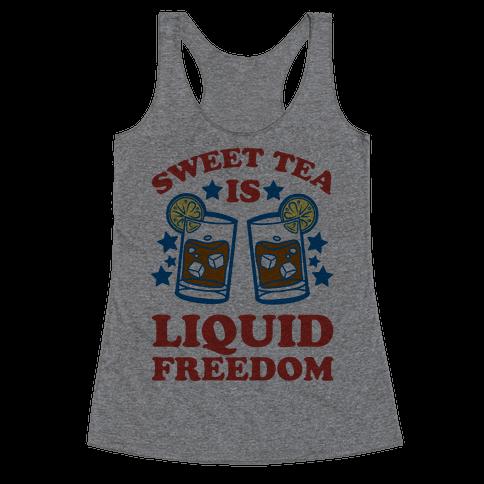 Sweet Tea Is Liquid Freedom (Patriotic Baseball Tee) Racerback Tank Top