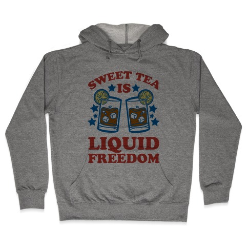 Sweet Tea Is Liquid Freedom (Patriotic Baseball Tee) Hooded Sweatshirt