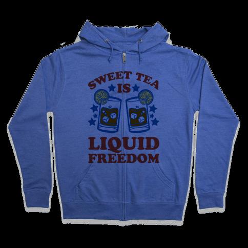 Sweet Tea Is Liquid Freedom (Patriotic Baseball Tee) Zip Hoodie