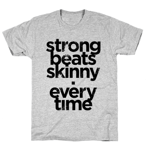 Strong Beats Skinny (Tank) Mens T-Shirt