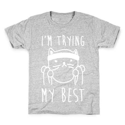 I'm Trying My Best Gym Cat Kids T-Shirt