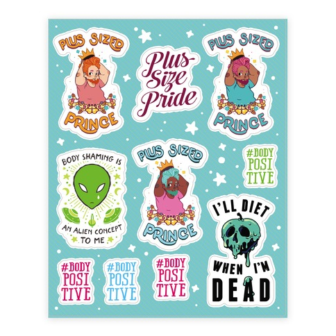 Body Positive Prince Stickers and Decal Sheet