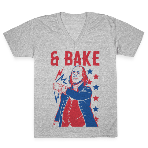 Shake & Bake: Benjamin Franklin V-Neck Tee Shirt